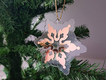 Ornament brad fulg rose gold - set 12 bucăţi