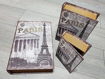 Set 3 cutii decorative din lemn Mon Paris