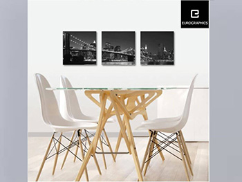 Set 3 tablouri Manhattan, EUROGRAPHICS, decorațiune din sticlă, set de tablouri agățătoare