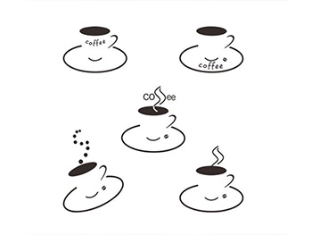 Set 5 stickere decorative Ceşti cafea, maro