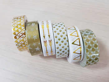 Set 6 Washi Tape Gold design, Folina, cu modele aurii