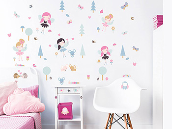 Set Stickere zâne Woodland Fairies, Walltastic, decorațiune pentru copii, set 63 stickere autoadezive