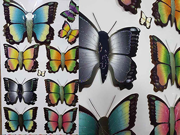 Sticker 3D Fluturi Papillon, Folina, multicolor, set 9 bucăți