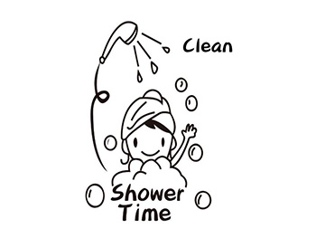 Sticker cabină duş, Folina, Shower time, negru, 70x58 cm