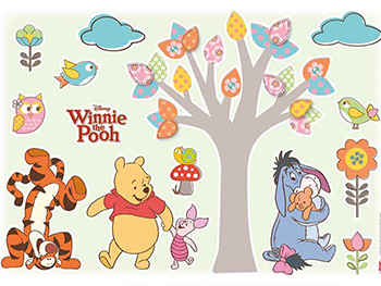 Sticker Winnie the Pooh Nature Lovers, Komar, pentru copii, multicolor- planşă de 50x70 cm
