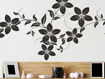 Sticker perete Dora, Folina, decor floral, negru