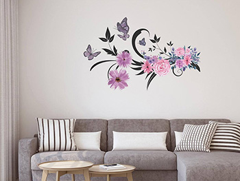 Sticker perete, Folina, Decor flori mov, 90x60 cm