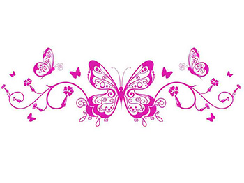 Sticker decorativ Fluture, Folina, autoadeziv, roz
