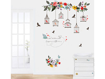 Sticker decorativ Colivii, Folina, motive florale, multicolor - 90x30 cm