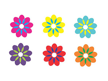 Sticker decorativ Rita, Folina, imprimeu floral, multicolor, set 6 bucăți