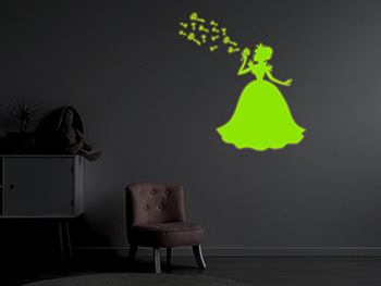 Sticker fosforescent Prinţesă, Folina, Glow in the dark, 60 cm înălţime