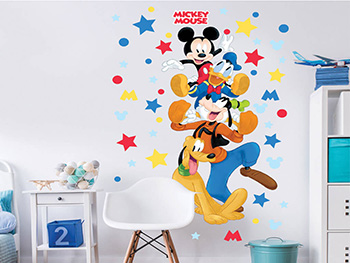Mega Sticker Mickey Mouse, Walltastic, multicolor, 120 cm