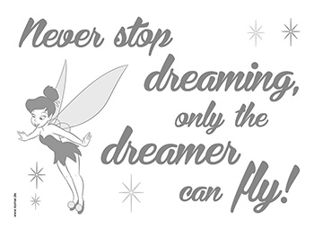 Sticker motivaţional, Komar, Never stop dreaming, text gri