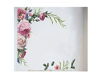 Sticker perete, Folina, decor floral mov, 80x80 cm