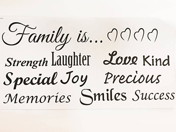 Sticker perete, Folina, Family is, negru, 30x60 cm