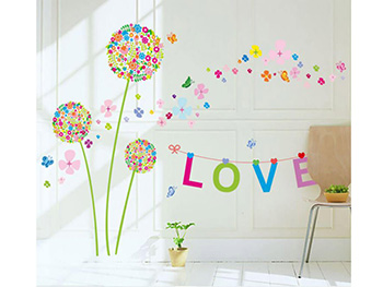 Sticker perete, Folina, model floral Love