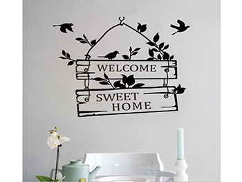 Sticker perete, Folina, Sweet home, negru, 30x35 cm
