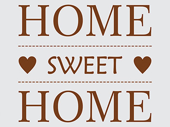 Sticker Home sweet Home, Folina, decorațiune perete maro, dimensiune sticker 50x50 cm