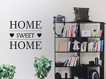 Sticker Home sweet Home, Folina, decorațiune perete negru, dimensiune sticker 50x50 cm