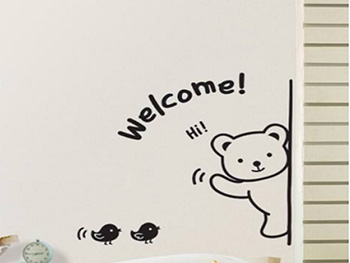 Sticker perete Welcome, Magicfix, negru, set 5 stickere