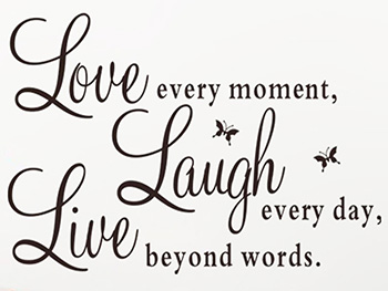 Sticker text Love-Laugh-Live, Folina, decorațiune pentru perete, dimensiune sticker 50x60 cm