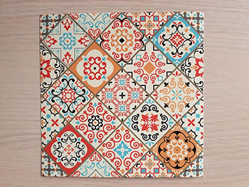 Set 15 stickere faianţă Sole, Folina, model patchwork colorat, 20x20 cm