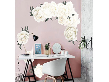 Stickere flori, Folina, decor floral crem