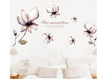 Stickere flori, Folina, decor floral gri, planşă cu 6 stickere