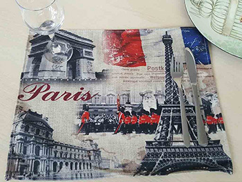 Suport farfurie Paris, Folina, imprimeu cu orașul Paris, multicolor, 42 x 30 cm