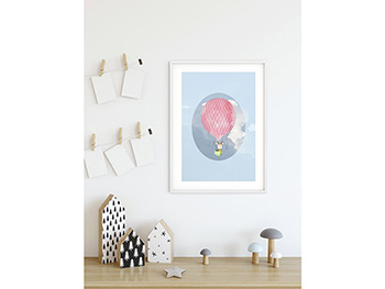 Tablou Happy Balloon Blue - 30x40 cm